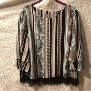 Chico's Blouse with Black Lace Sz 1